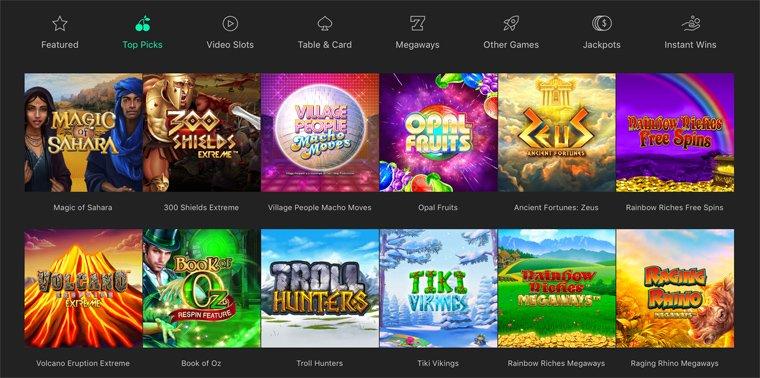 Games-osion kasinopelivalikoimaa