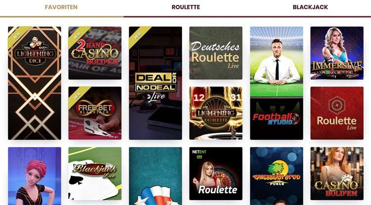 Live casino favoriten