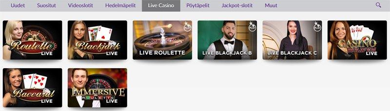 Livekasinon pelivalikoima: Ruletti, Blackjack ja Baccarat