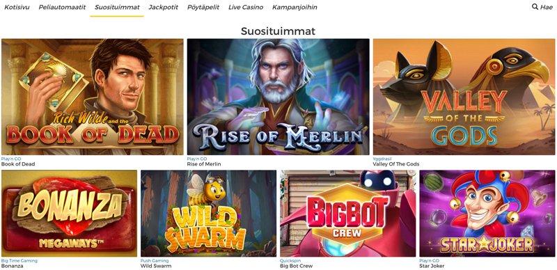 Suosituimmat pelit ja pelikategoriat