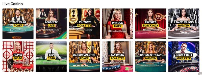 Alla live casino spel