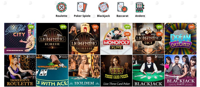 Live Roulette und Live Blackjack