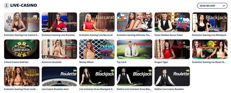 Alle Spiele im Live Casino
