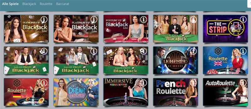 Live Spiele Blackjack und Roulette