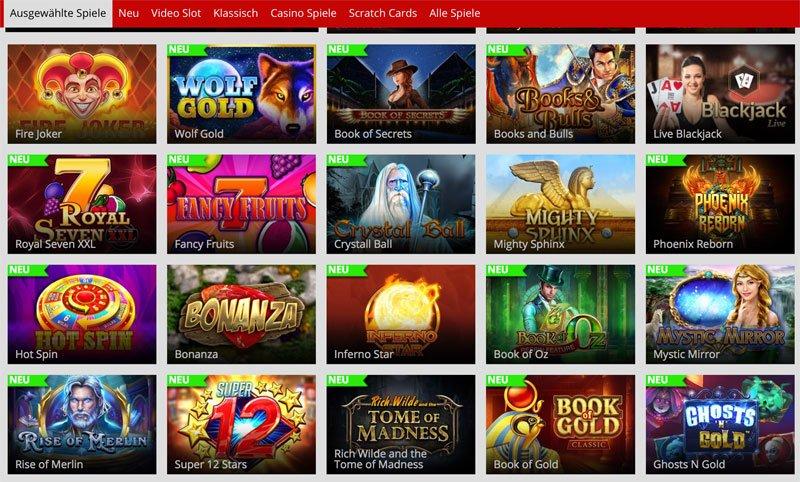 Ausgewählte Casino Spiele