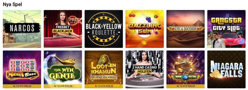 Några nya spel på online casino