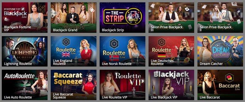 Verschiedene Live Casino Spiele