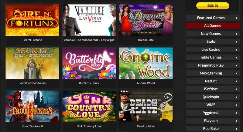 Casino Spiele und suchfunktion
