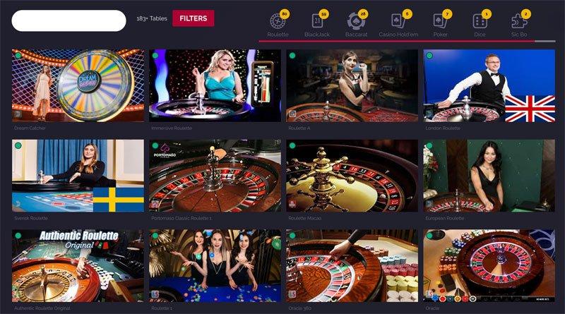 Live-Casinon pelivalikoimaa