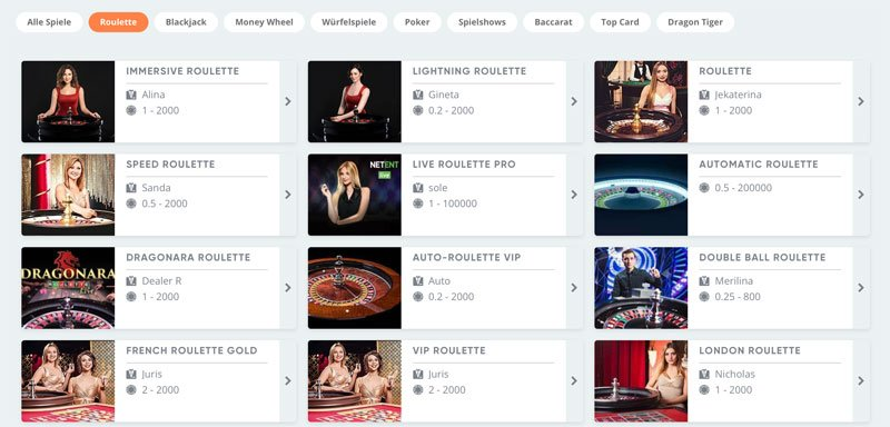 Live Roulette Spiele