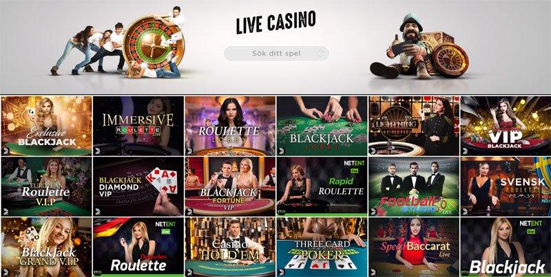 Live Blackjack och Live Roulette