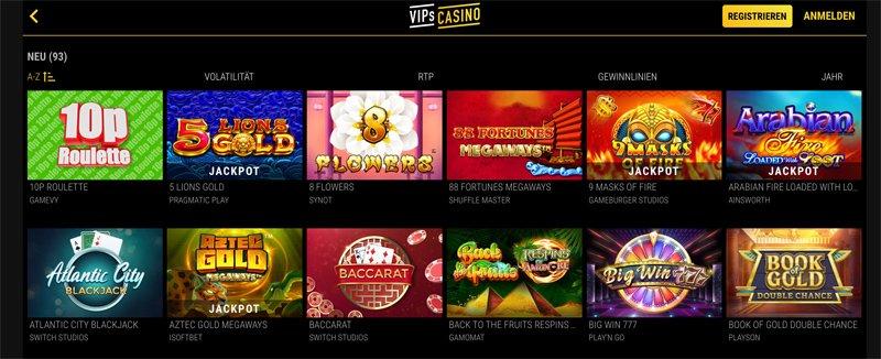 neue Spiele bei VIPs Casino